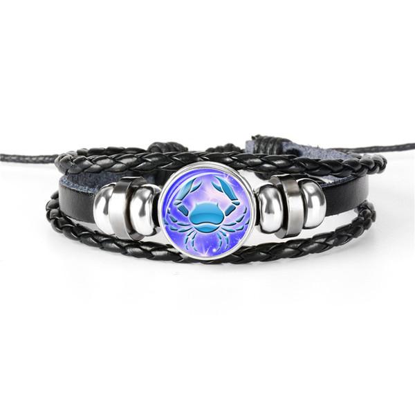 Fashion Women Men Cowhide Leather Rope Beaded Bracelet 12 Constellations Zodiac Cancer Time Gem Glass Dome Jewelry Girlfriend Boyfriend Gift