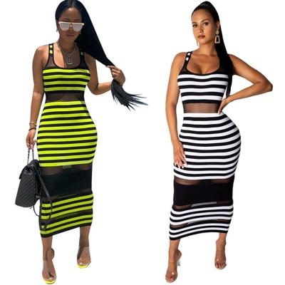 Hot Women Summer Mesh Dresses Fashion Colorful Striped Printed Crew Neck Sleeveless Casual Maxi Vest Dress Plus Size Women Clothing S-2XL