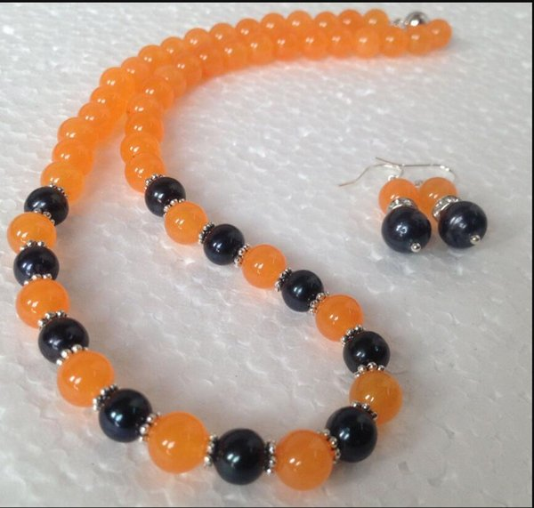 jewelry wh7-8MM Natural Black Akoya Cultured Pearl/Orange Jade necklace earrings set
