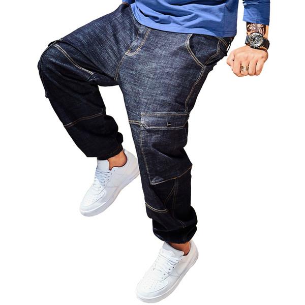 2019 New Fashion Streetwear Hipohop Ripped Men Jeans Personality Big Pockets Stretch Denim Harem Pants Plus Size 30-40 42 44 46