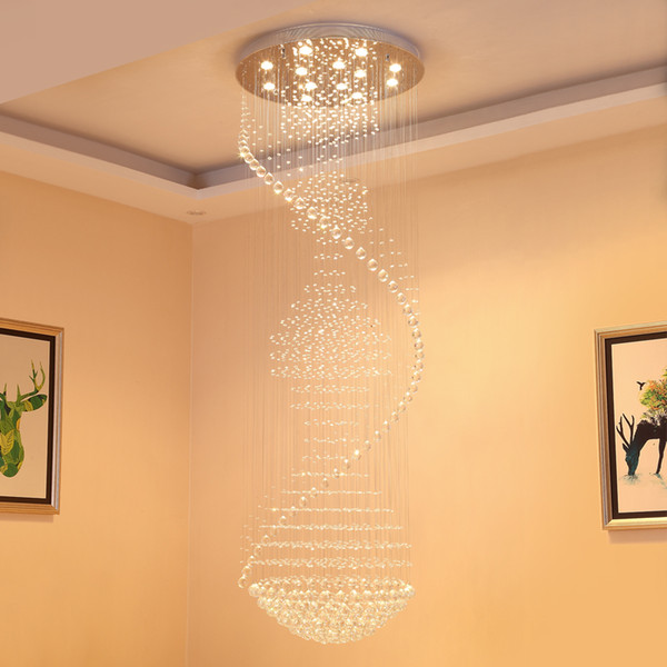 Llevados modernos Lámparas cromo de lujo grande K9 el cristal claro iluminación de techo de Cristal Lustre colgando colgante Lamp Hotel VALLKIN