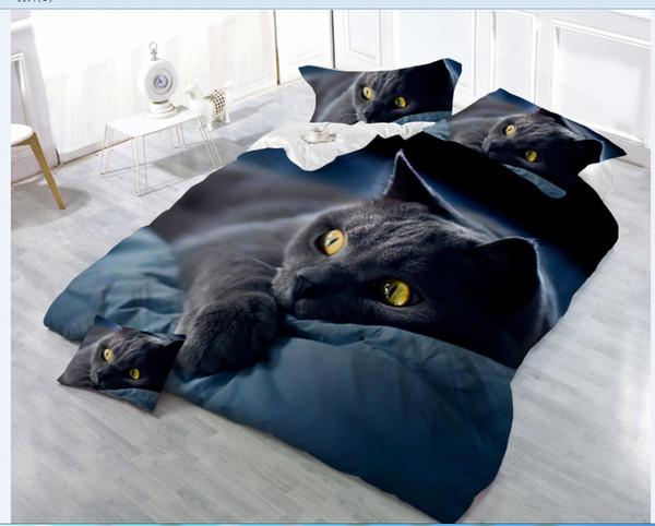 Großhandel 4 Stücke 3D Animal Printing Bed Set Für Kinder Schwarze Katze  Hunde Tiger Und Löwe Muster Bettbezug Sets Luxus Queen Size Bettwäsche Von  ...