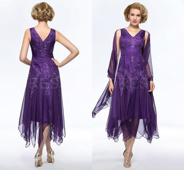 New Elegant Purple Mother of Bride Groom Dresses V Neck Appliqued Beaded Mother Wedding Gowns Tea Length Formal Party Dresses Plus Size