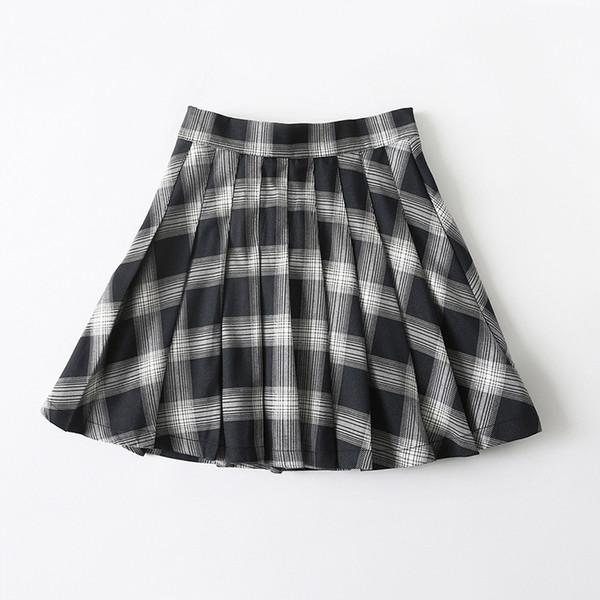 15 filles en jupes plissées Nouvelle taille haute jupe courte à carreaux noire et blanche Tennis Dance Academy demi-longueur pour les femmes de toutes les mers