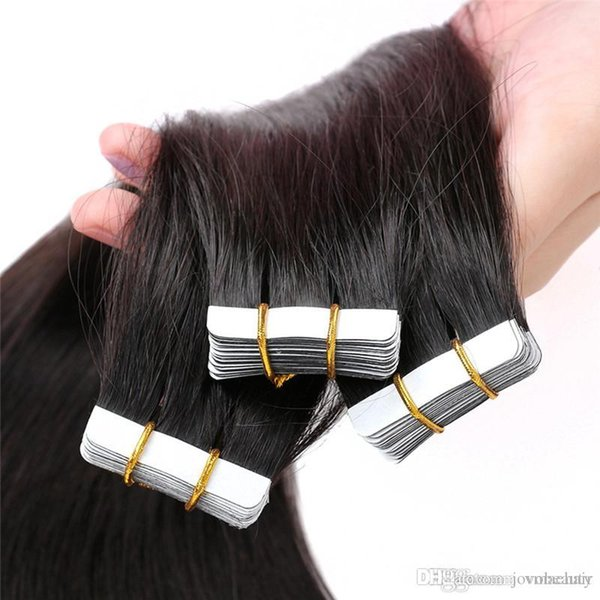 Brazilian 1B# 4# Tape Human Hair Extensions Double Drawn 2.5g/Piece 40Pieces/Pack 18'' 20''Inch Straight Skin Weft Hair
