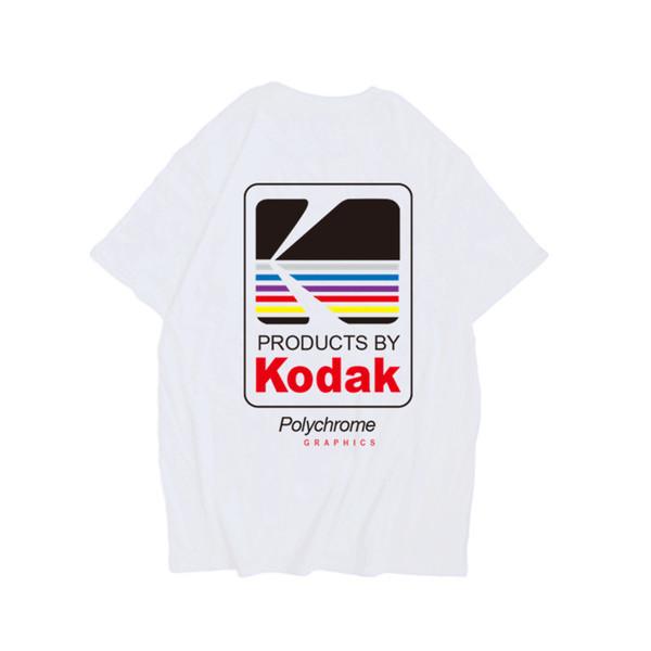 Harajuku Streetwear Weißes T-Shirt Herrenmode Lustiges T-Shirt Kodak Herren T-Shirt Halbes Ärmel Hip Hop T-Shirt Herren 2XL Sommer 2019