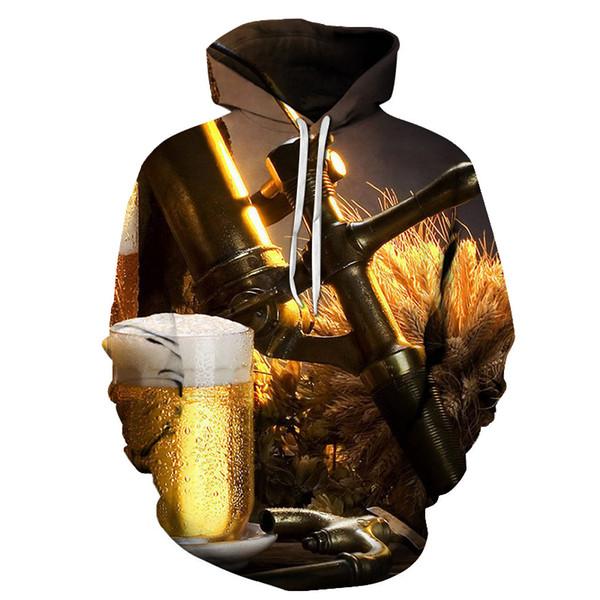 Novo 3D Impresso cerveja hamburger Homens e mulheres Hoodies Moda camisolas Hip Hop jaquetas Engraçado sportswear Ásia Tamanho s-6xl