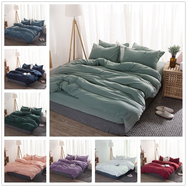 New Product Solid Color 4 Pcs Bedding Set Microfiber Bedclothes Navy Blue Gray Bed Linens Duvet Cover Set Bed Sheet