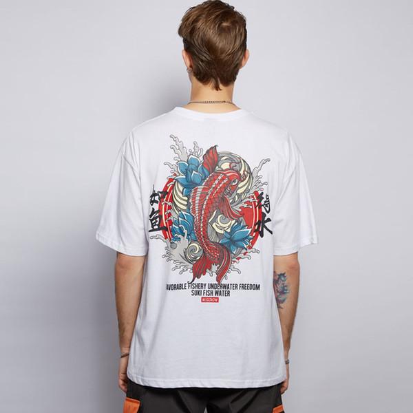 Estilo japonés Carp Fish Impreso Streetwear Camisetas Hombres Mujeres 2019 Verano Hip Hop Camiseta de Manga Corta Casual Camisetas Masculinas