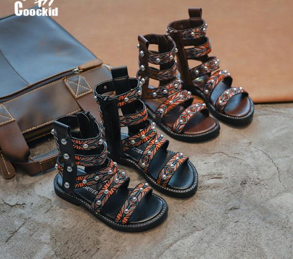 Summer girls rivet sandals national style kids floral beaded gladiator sandals boots 2019 new children non-slip flat roman sandals F5831