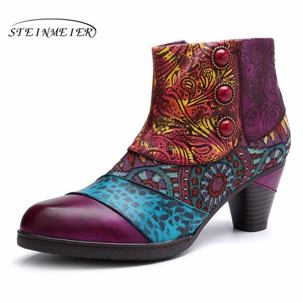 Women winter Boots Genuine cow Leather High heel Ankle Comfortable quality soft Shoes Brand Designer Handmade purple 2019 spring