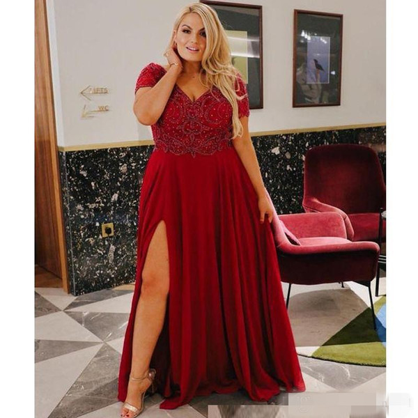 Dark Red Plus Size Evening Dresses Short Sleeves V Neck Luxury Beaded  Sequins Side Slit Floor Length A Line Custom Made Formal Prom Gown Designer  ...