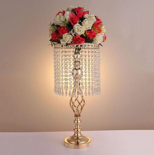 70cm Rhinestone gold metel Wedding Party Elegante candelabro Pretty Table Centerpiece Jarrón Soporte Crystal Candlestick Decoración de la boda