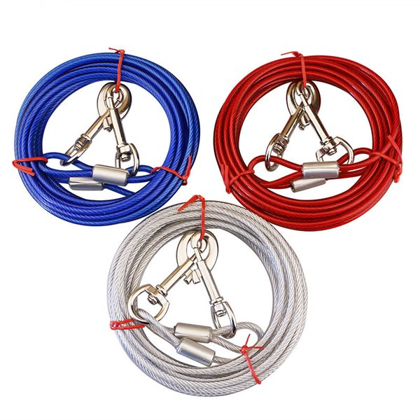 5MM Double Head Steel Wire Dog Leash Puppy Training Adjustable Collar Red White Blue X354