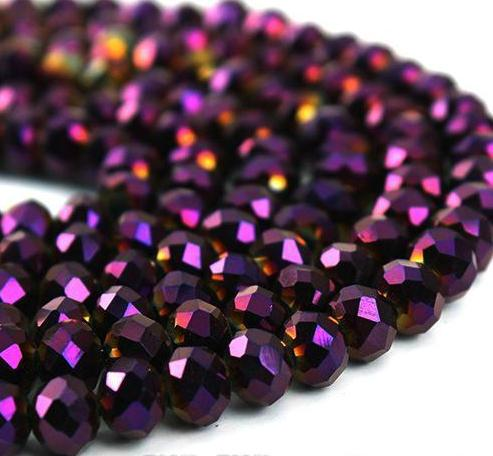500pcs/LOT Purple AB Quality Faceted 4 SIZES #5040 RONDELLE Wheel glass crystal beads DIY JEWELRY bracelet necklace MAKING