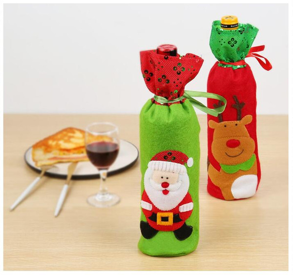 Drpshipping Newest Christmas Decoration Santa Claus elk red Wine Bottle Cover Gift Reindeer Snowflake Elf Bottle Hold Bag Case Snowman Xmas