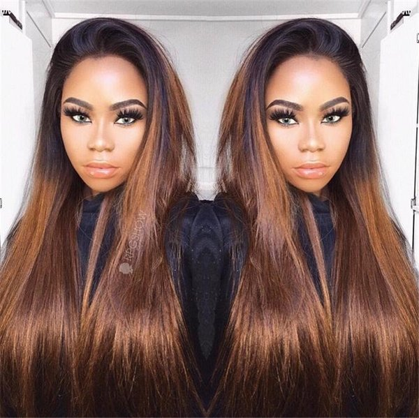 Silk Straight T#1B 30 Ombre Hair Wig With Baby Hairs Best Brazilian Full Lace Wigs Middle Part Virgin Human Hair Lace Front Wigs