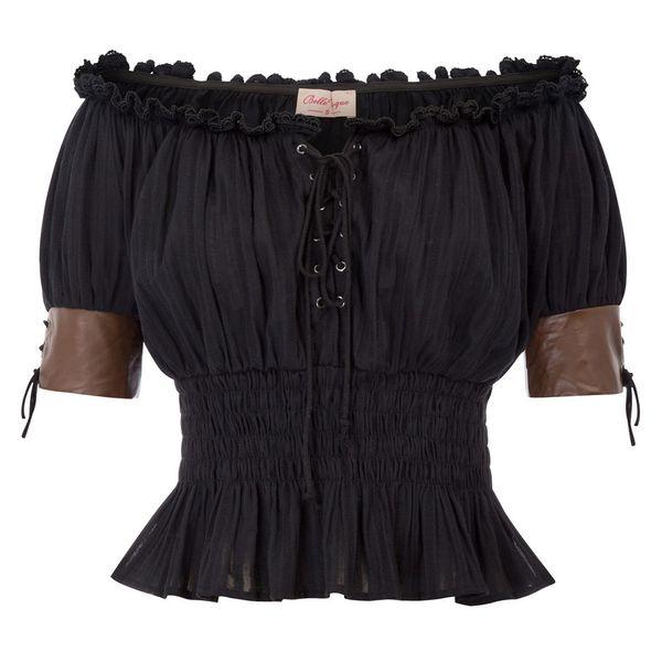 Sexy Slash Neck Shoulder Punk Tshirt Women 2018 Summer Elastic Waist Pleated Vintage T Shirt Steampunk Short Victorian Tops Y19051301