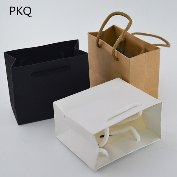 20pcs High Quality Small Gift Bag with Handles Jewelry/Perfumes Packaging Bag Pink/White/Black Kraft Paper Mini Shopping