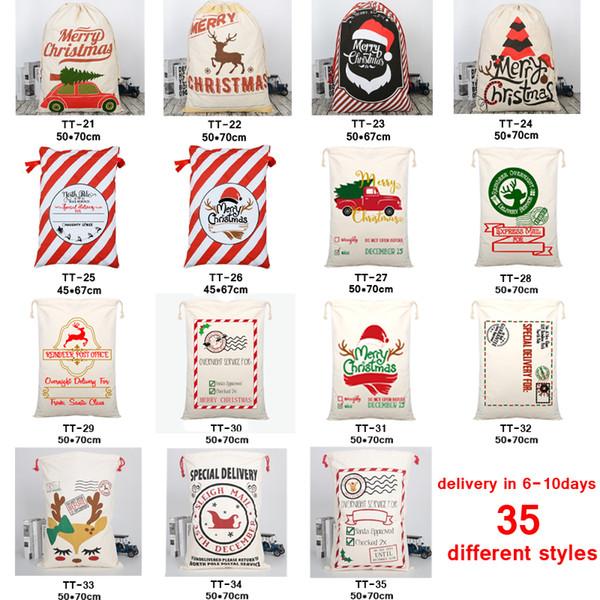 best selling 35 STYLES Christmas Gift Bags 2020 new Christmas Bag Drawstring Bag With Reindeers Santa Claus Sack Bags for Santa Sack kid bag