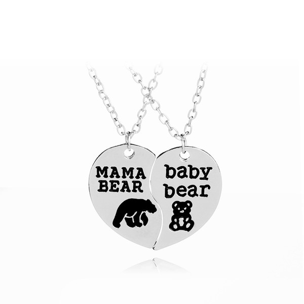 Mama Bear baby bear Tag Engraved Animal Pendant Necklace Mother Kids Love Heart Necklace Fashion Mom and Children Jewelry