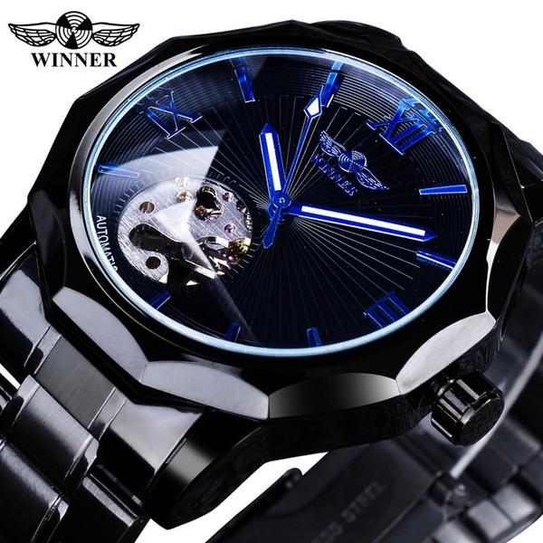 Vincitore 2019 nero in acciaio inox moda mani blu mens orologio meccanico top brand di lusso forma irregolare quadrante luminoso mani Y19052301