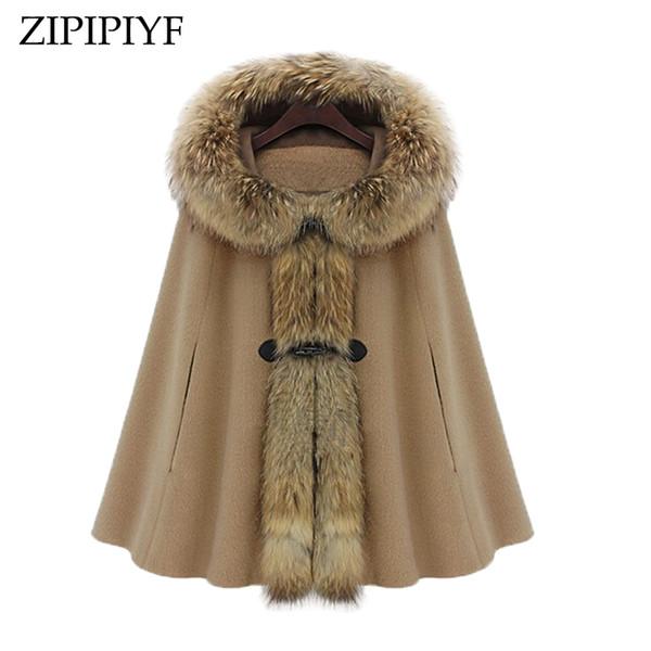 ZIPIPIYF 2017Winter coat Women Girl Faux Fur Shawl Wool Hooded Poncho Batwing Cape Coat Winter Jacket Cloak Poncho Windbreaker
