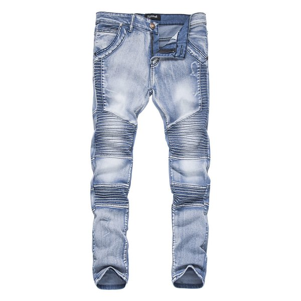 2019 New Mens Jeans Ripped Fold Slim Jeans Pants Korean Style Elasticity Casual Male Trousers Cool Stretch Man Denim Pants Xxl