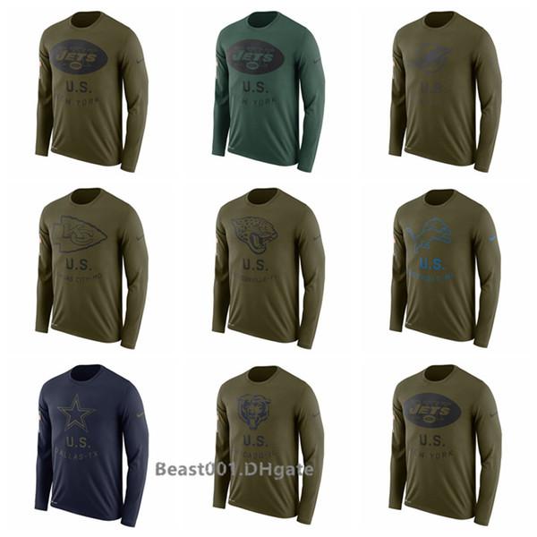 Men Jaguars Lions Cowboys Bears Jets Dolphins Chiefs Salute to Service Side line Legend Performance Long Sleeve T-Shirt