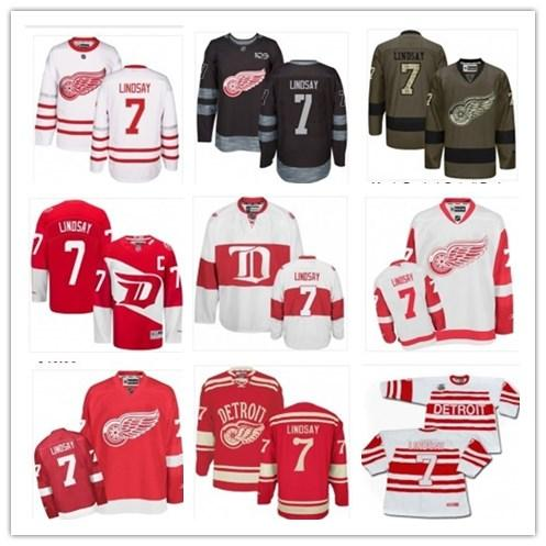 2019 cu tom any name number detroit hockey jer ey green 7 ted lind ay men women youth red wing game worn hockey jer ey hirt