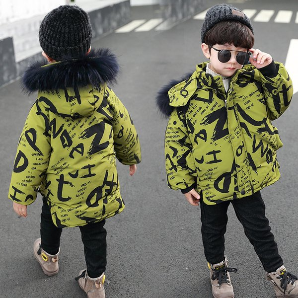 Мальчик сгущать хлопка-проложенный одежды мода прилив зимы детей детей стеганые куртки с капюшоном в хлопка-проложенный одежды