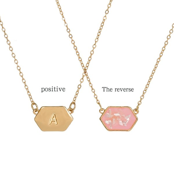 Geometric Shell Necklace With 26 Alphabet Letter Necklace For Women Name Pendants Girlfriend Jewelry Gift Dropshipping