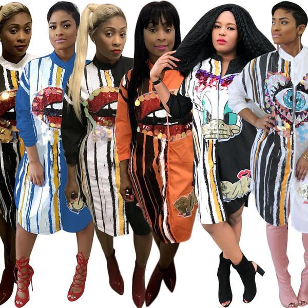 2019 Spring Hot Sale Smart Printing Women Shirt Dresses Cute Cartoon Stripes Long Sleeves Crew Neck Fashion Casual Party Dress Knee Length