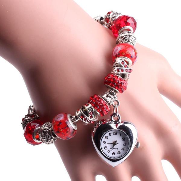 Yeni Retro Dokuma Wrap Lady Boncuk Yaprak Dangle Bilezik Bileklik Kuvars Bilek İzle Reloj de dama kızlar hediye kaliteli ücretsiz nakliye için