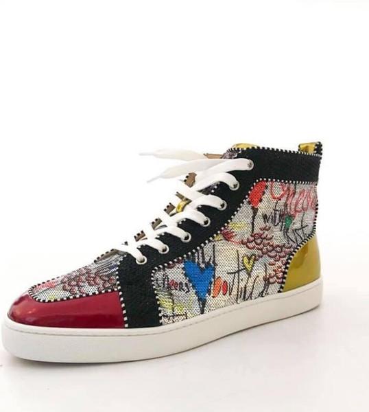 Acheter Pas Cher Hommes Femmes Chaussures De Luxe Baskets Bas Rouge Haut Haut Imprimé Argent Pik No Limit Limite RARE Goujons Strass Graffiti