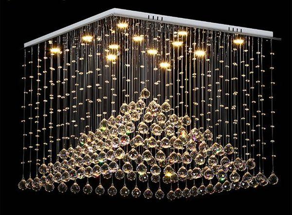 Lámparas de araña de cristal cuadradas modernas de alta calidad L60 * W60 * h60cm LED de cristal lámpara colgante comedor luminarias, AC110V o 220v