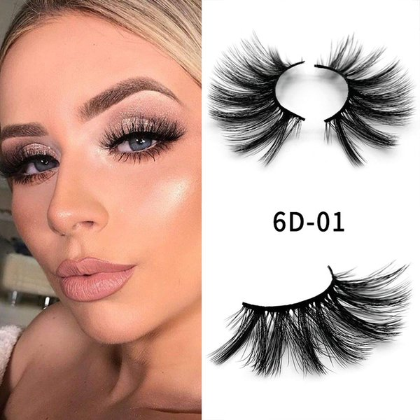 6D-01 NEW 25mm False Eyelashes 5d Mink Hair 6d Stereo Messy Thick Eyelashes Europe and The United States 10 Options 11.2×5.5×1.6cm Single