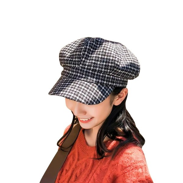 Autumn Winter Web Celebrity New Korean Version with Checkered Octagonal Hat Female British Painter Hat Bud Hat Japanese Beret