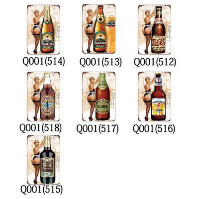 top popular Metal painting Beer Poster Metal Tin Signs Retro Wall Stickers For Bar Pub Cafe Decoration Art Plaque Vintage Home Decor EEA347 2019