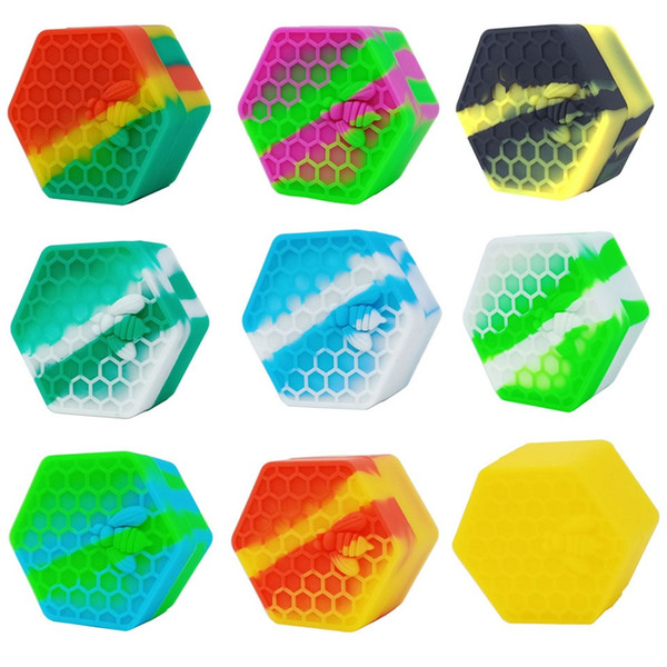 MOQ=10PCS Honeybee Hexagon Silicone Container 26ml Nonstick Silicone Jars Dab Wax Container For Oil Crumble Honey Wax