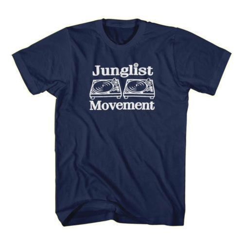 JUNGLIST MOVIMENTO RARA CLÁSSICO RETRO JUNGLE MÚSICA Azul Marinho T-Shirt S-3XL