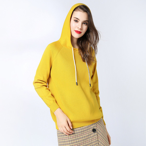 Pop2019 Suit-dress And Korean Long Sleeve Knitting Unlined Upper Garment Pullover Pulling Rope Even Hat Sweater Loose Coat