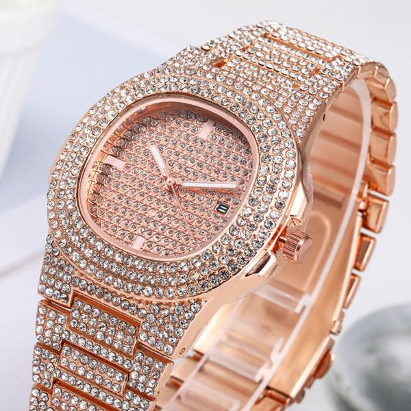 Vente en gros Hommes Femmes Mode Montre bling Full Diamond Glacé Montres CZ luxe Designer Mouvement Quartz Parti Wristwatch