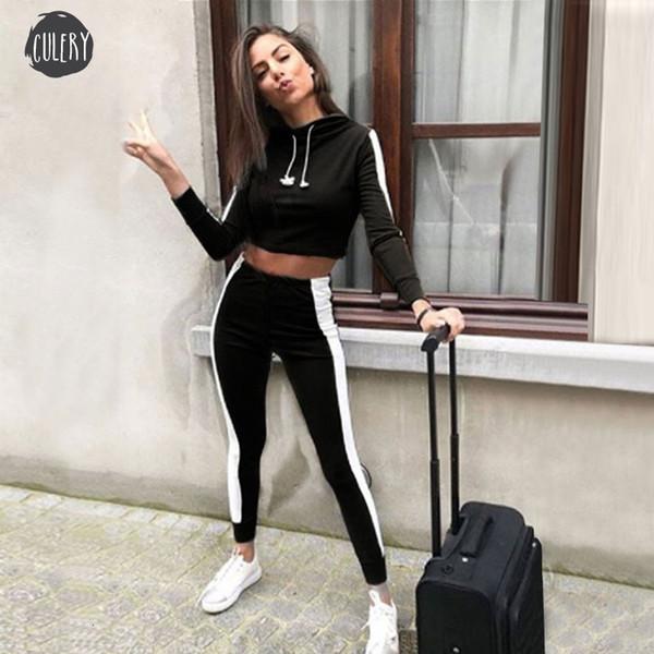 2019 Femme Automne Tenues Piece Set Survêtement Deux costumes du sport Femme 2 Pantalons Piece Sets femmes Sweats à capuche Sweat Brassière