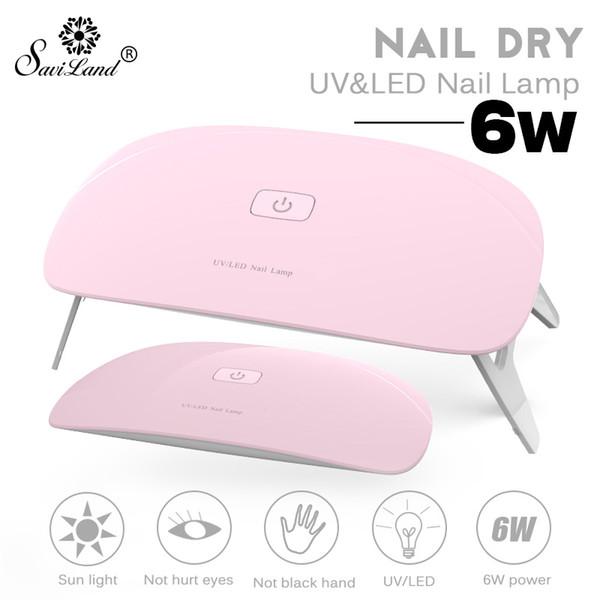 Nail Saviland lámpara UV LED Secadora Mini USB Lámpara 6W esmalte de uñas cable USB portátil para uso particular de las mujeres del polaco del gel Secadores Herramientas