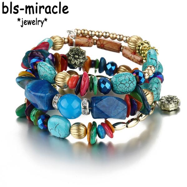 Bls-miracle Brand Woman Boho Multilayer Beads Charm Bracelets for Women Vintage Resin Stone Bracelets & Bangles Jewelry BA-181