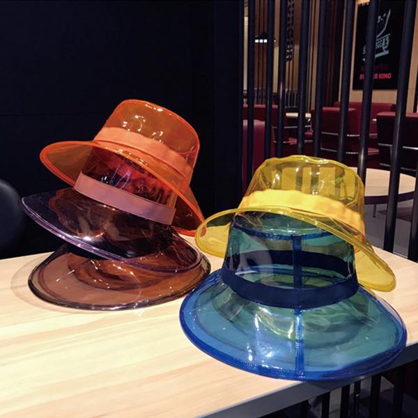 Folding Transparent Womens Buckets Hats Candy Colors Ladies PVC Beach Sun Visor Hat Outdoor Wide Brim Fisherman Caps LJJT717