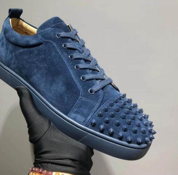 Wholesale 2019 men women blue spikes Low top shoes designer red bottom Sneakers mens loubbis shoes with box and dustbag size:35-47