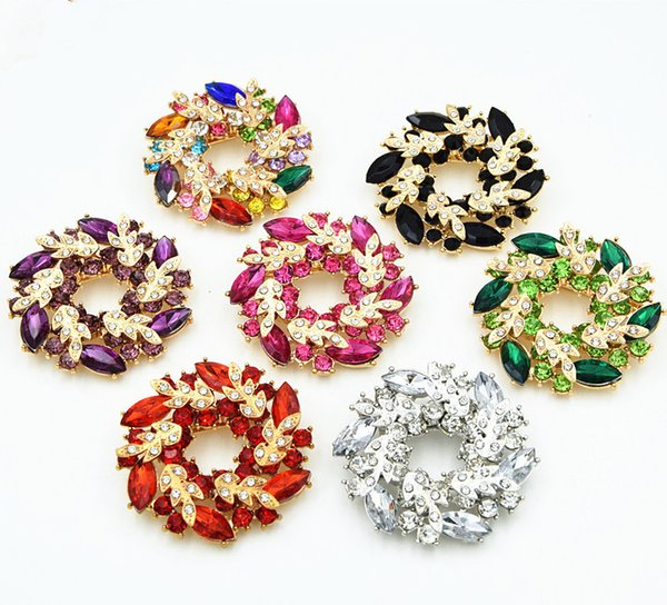 Bauhinia Flower Pin Double Leaf Garland Scarf Buckle Dual-use Fashion Jewelry Brooch Corsage High-grade Alloy Diamond Brooch 24PCS