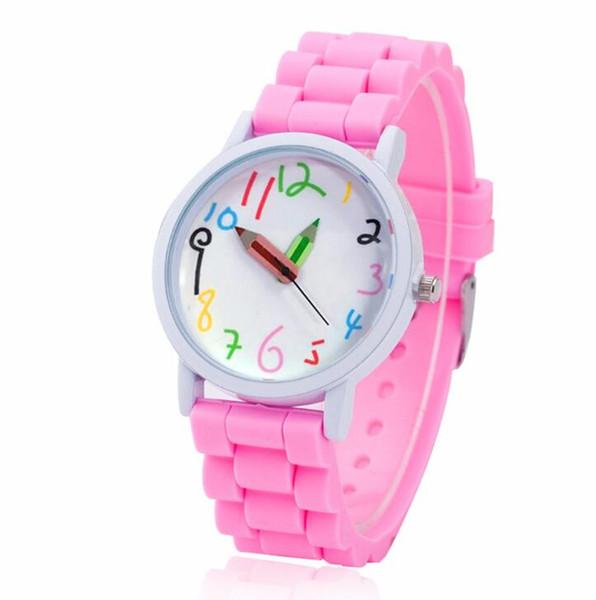 Reloj de silicona con lápiz Reloj de cuarzo pintado a la moda Reloj de concha de aceite blanco